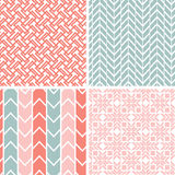 Set Of Four Gray Pink Geometric Patterns And Royalty Free Stock Photos