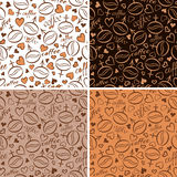 Set Of Four Seamless Patterns With Coffee Beans