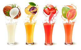 Free Set Of Fruit Juice Splash In A Glass. Stock Image - 97125361