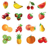 Set Of Fruits And Vegetables Stock Photos