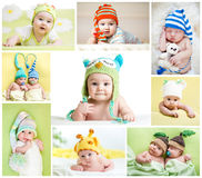Set Of Funny Babies Or Children Weared In Hats Royalty Free Stock Photos