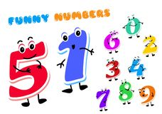 Free Set Of Funny Cartoon Numbers Characters. Kids Figures One, Two, Three, Four, Five, Six, Seven, Eight, Nine, Zero. Royalty Free Stock Image - 139316226