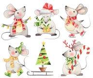 Free Set Of Funny Cute Xmas Mice Watercolor Royalty Free Stock Photo - 156713795