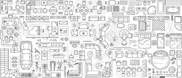Free Set Of Furniture Top View For Apartments Plan. Floor Plan Icon Vector Royalty Free Stock Photos - 171454928