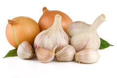 Set Of Garlic And Onion Isolated On White Royalty Free Stock Images