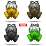 Set Of Gas Mask Respirator. Vector Illustration. Royalty Free Stock Photography