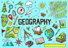 Free Set Of Geography Symbols. Equipments For Web Banners. Vintage Outline Sketch For Web Banners. Doodle Style. Education Royalty Free Stock Photos - 136641038