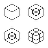 Set Of Geometric Cube. Fashion Graphic Design. Vector Illustration. Background Design. Optical Illusion 3D. Modern Stylish Abstrac Royalty Free Stock Images