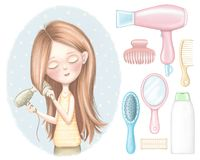 Free Set Of Girl Dries Red Hair, Shampoo, Combs, Hair Dryer, Curlers And Hairpin Royalty Free Stock Photo - 162310825