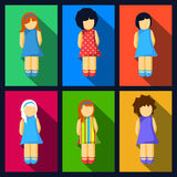 Set Of Girl Flat Icons With Colorful Dresses Royalty Free Stock Photography