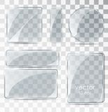 Set Of Glass Plates. Flat Glass With Glare. Stock Photos