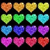 Set Of Glitter Hearts Stock Image