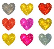 Set Of Glittering Hearts Isolated On White. VECTOR Illustration Stock Photography