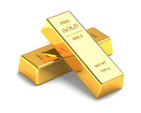 Free Set Of Gold Bars On The White Royalty Free Stock Photography - 35779847