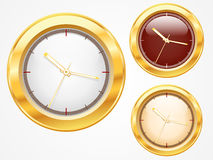 Free Set Of  Gold Shiny Clock Icon Design Royalty Free Stock Images - 20189889
