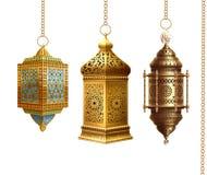 Free Set Of Golden Arabic Lanterns Stock Photo - 144805650