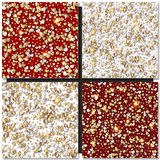 Set Of Golden Hearts Seamless Backgrounds Stock Images