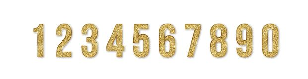 Set Of Golden Numbers. Numbers From 0 To 9 With Shimmering Glitter Isolated On White Background. Golden Dust, Vector Royalty Free Stock Image