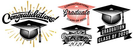 Free Set Of Graduation Vector Class Of 2020. Congrats Grad Congratulations Graduate Royalty Free Stock Photo - 181086655