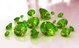 Set Of Green Round Emerald Gemstones Royalty Free Stock Photos