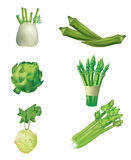 Set Of Green Vegetables Stock Images