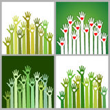 Set Of Green Volunteers Caring Up Hands Hearts Royalty Free Stock Photos
