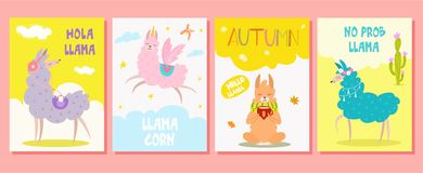 Free Set Of Greeting Cards With Llama. Vector Illustration. Beautiful Template. Can Be Used For Banner, Poster, Card, Postcard And Prin Stock Photos - 154061133