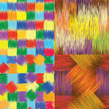 Set Of Grunge Striped ,checkered And Stained Seamless Patterns Stock Image