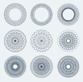 Set Of Guilloche Rosettes Stock Images