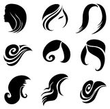 Set Of Hair Symbols Stock Photography