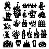 Set Of Halloween Icons. Halloween Haunted House Isolated On A White Background. Vector Illustration Royalty Free Stock Photos