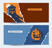 Set Of Halloween Party Banners. Background With Torn Paper And Space For Text. Royalty Free Stock Photography