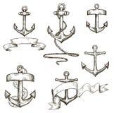 Set Of Hand Drawn Anchors And Ribbons Royalty Free Stock Photos