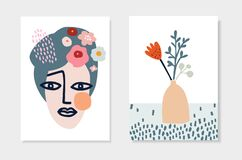 Free Set Of Hand Drawn Greeting Cards, Invitations. Artistic Womans Face And Vase With Spring Flowers. Cut Out Floral Design Stock Images - 170515474