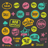 Set Of Hand Drawn Style Badges And Stickers Royalty Free Stock Image