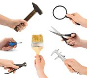 Set Of Hand With Tool Stock Photos