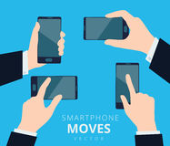 Set Of Hands With Smartphone, Moves And Gestures Designю Cell Phone Touchscreen Stock Image