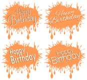 Set Of Happy Birthday Greeting Cards Isolated Royalty Free Stock Images