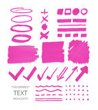 Set Of Highlighter Marker Spots And Signs Royalty Free Stock Photo