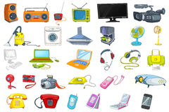 Free Set Of Household Appliances And Electronic Devices Royalty Free Stock Photography - 74744117