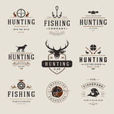 Set Of Hunting And Fishing Labels, Badges, Logos Stock Photo