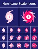 Set Of Hurricane Scale Icons Stock Photo