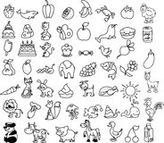 Set Of Icons Of Animals, Food, Nature, Vector Royalty Free Stock Images
