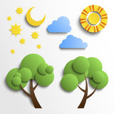 Set Of Icons. Paper Cut Design. Sun, Moon, Stars, Royalty Free Stock Photography