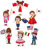 Set Of International Childrens Holding Flag Stock Photos