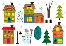 Free Set Of Isolated Houses And Tree In Winter Time Royalty Free Stock Images - 130843079