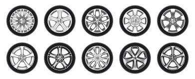 Free Set Of Isolated Rubber Tyre, Car Tire, Truck Wheel Stock Images - 166409664