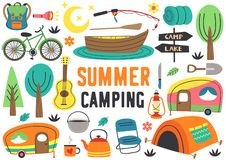 Free Set Of Isolated Summer Camping Elements Part 2 Stock Images - 146188664
