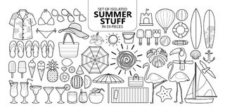 Set Of Isolated Summer Stuff In 59 Pieces. Royalty Free Stock Photography