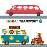 Set Of Isolated Transports With Animals Part 5 Royalty Free Stock Photography
